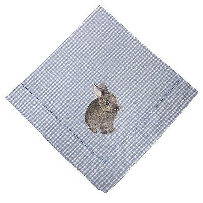 Guardanapo Páscoa xadrez azul e coelho hot print