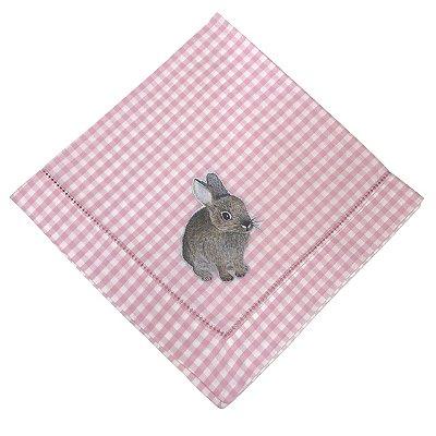 Guardanapo Páscoa xadrez rosa e coelho hot print