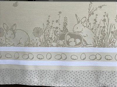 Toalha de páscoa adamascada beige 1,5 x 2,5m