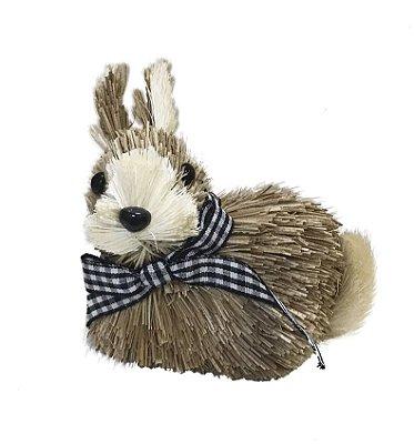Mini coelho de palha com laço xadrez