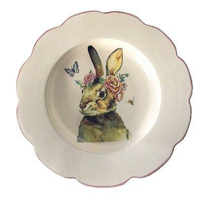 Prato raso borda ondulada coelha com flores