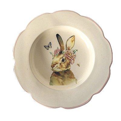 Prato sobremesa borda ondulada coelha com flores