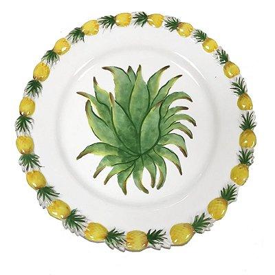 Prato raso com borda abacaxi e pintura zanatta Casa
