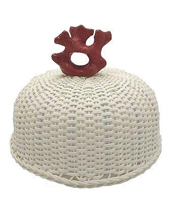 Cobre bolo junco branco e coral de cerâmica Zanatta Casa