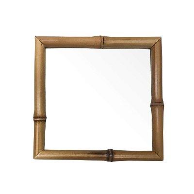 Bandeja bambu e vidro quadrada 20 x 20 cm
