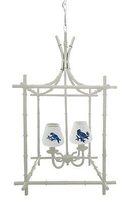 Lustre Gaiola off white com cupulas bordadas pássaros