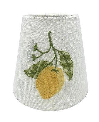 Cúpula pequena de linho bordado limão siciliano