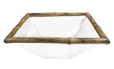 Saladeira quadrada G bambu e vidro