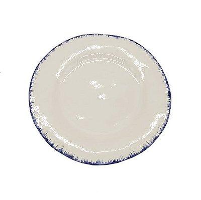 Prato pão branco pincelado azul