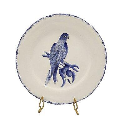 Prato sobremesa amassado azul e branco borda pincelada com pássaro 4