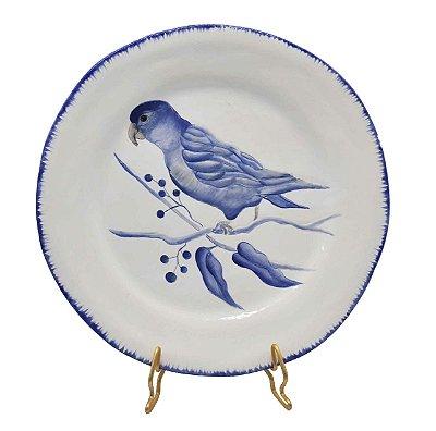 Prato sobremesa amassado azul e branco borda pincelada com pássaro 5