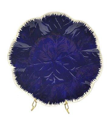 Prato raso relevo de folha azul cobalto