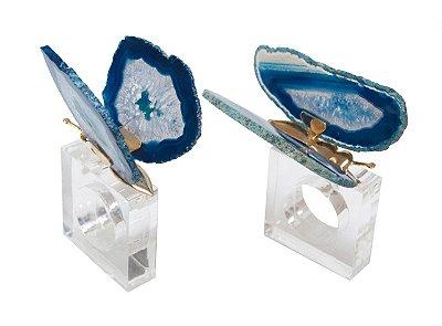 Porta guardanapo borboleta pedra azul (cj c 2)