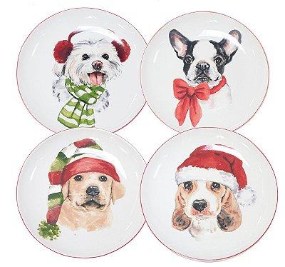 Quarteto dogs de Natal sobremesa