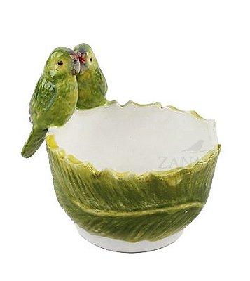 Bowl folha de banana PP com casal de pássaros