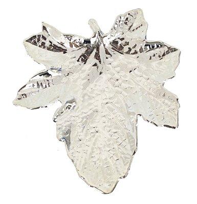 Pratinho folha plátano banhado em prata