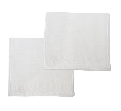 Guardanapo coquetel bordado pincelado branco (jogo 6)