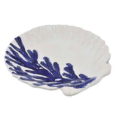 Prato raso concha branco com coral azul (CJ C 2)