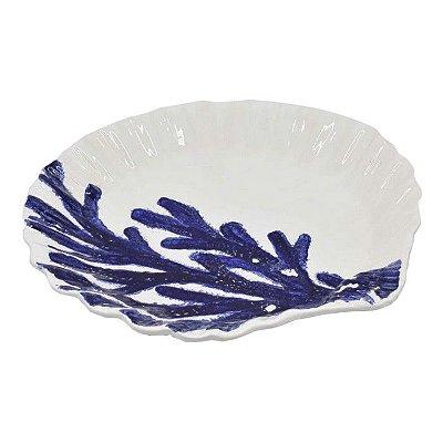 Sousplat concha branco com coral azul