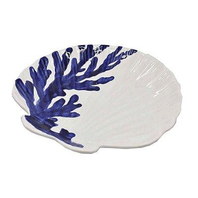Prato sobremesa concha branco com coral azul