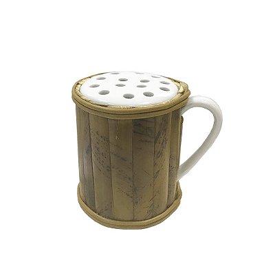 Porta queijo ralado de bambu e porcelana