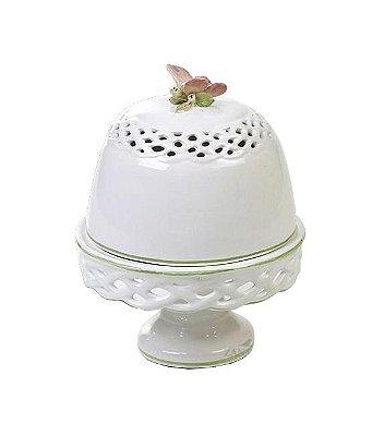 Queijeira de cerâmica com borboleta
