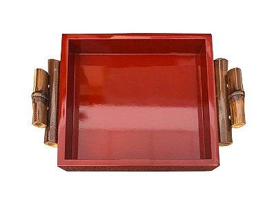 Bandeja laca vermelha alça bambu quadrada P