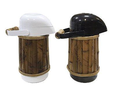 Kit garrafa térmica branca e preta com bambu