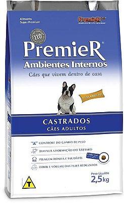 RAÇÃO PREMIER AMBIENTES INTERNOS CÃES CASTRADOS - 2,5kg