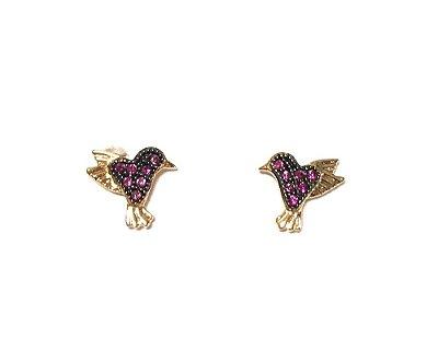 Brinco Armazem RR Bijoux infantil passarinho zirconia rosa