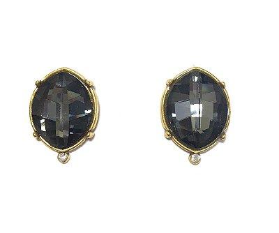 Brinco Armazem RR Bijoux cristal swarovski ouro velho