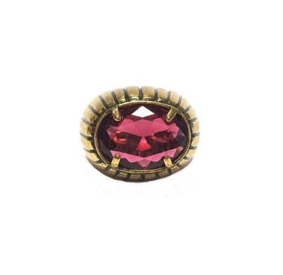 Anel Armazem RR Bijoux cristal swarovski vermelho ouro velho