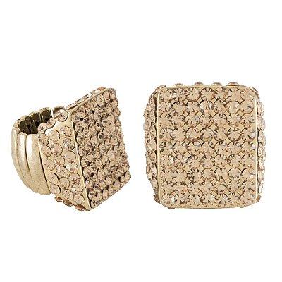 Anel Armazem RR Bijoux regulável cristal quadrado dourado
