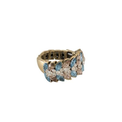 Anel Armazem RR Bijoux regulável cristal mini navete azul