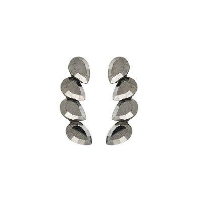Brinco Armazem RR Bijoux ear cuff gotas cristais