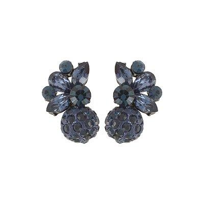 Brinco Armazem RR Bijoux mini globo cravejados cristal azul grafite