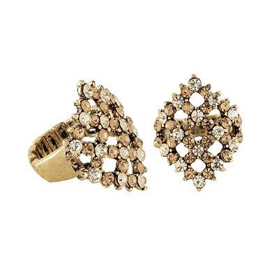 Anel Armazem RR Bijoux losango cristais cravejados dourado