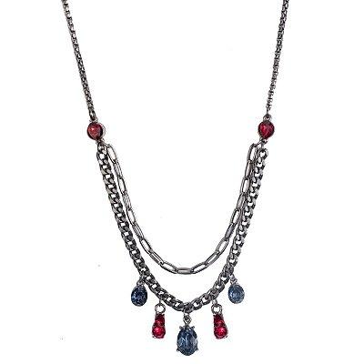 Colar Armazem RR Bijoux cristais vermelho e azul grafite