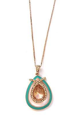 Colar Armazem RR Bijoux curto resina turquesa rose