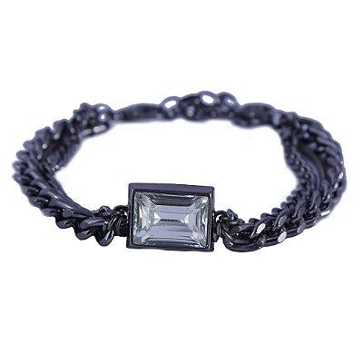 Pulseira Armazem RR Bijoux correntes com cristal quadrado grafite