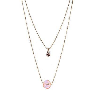 Colar Armazem RR Bijoux duplo pedra rosa