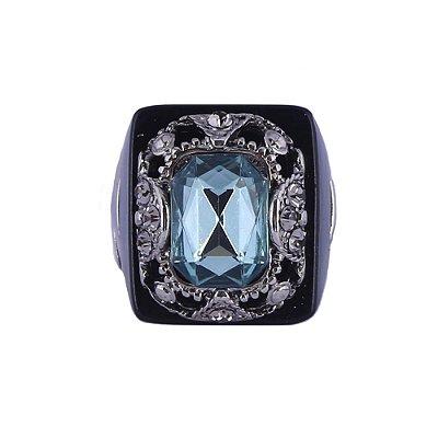 Anel Armazem RR Bijoux cristal azul quadrado preto