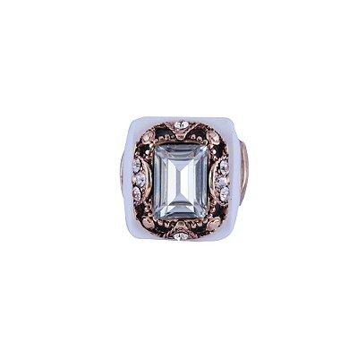 Anel Armazem RR Bijoux cristal quadrado branco