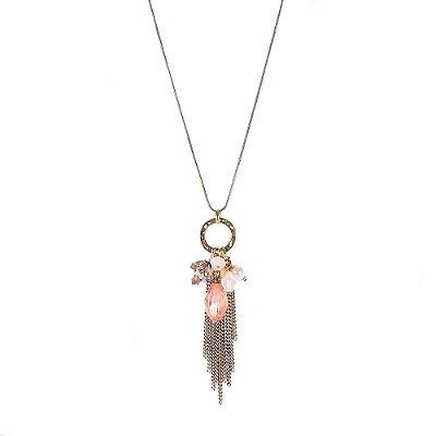 Colar Armazem RR Bijoux longo correntes cristal rose