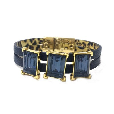 Pulseira Armazem RR Bijoux couro tres cristais quadrados azul