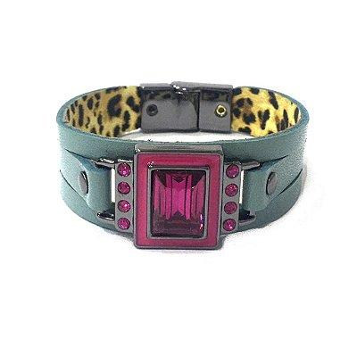 Pulseira Armazem RR Bijoux couro cristal quadrado azul e pink