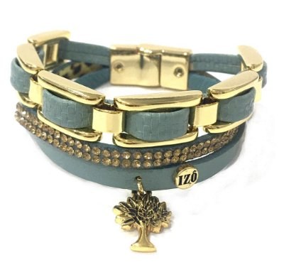 Pulseira Armazem RR Bijoux couro tripla arvore da vida azul