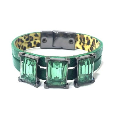 Pulseira Armazem RR Bijoux couro cristais verde