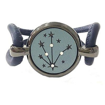 Pulseira Armazem RR Bijoux couro estrela cristais azul marinho