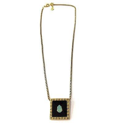 Colar Armazem RR Bijoux curto mini gota cristal swarovski azul